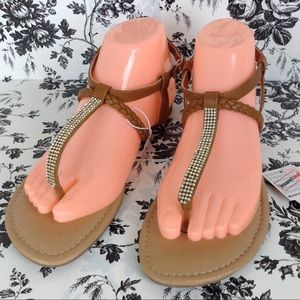 Joe Boxer Sandals with Jewels Size 7 NWT
